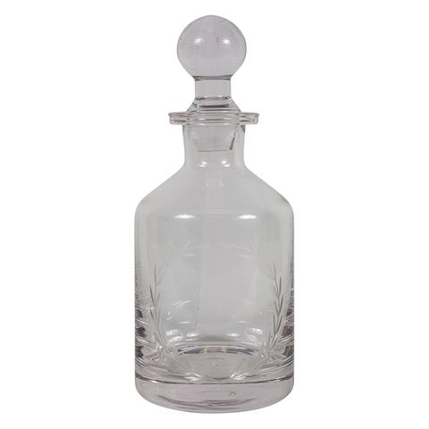 Wreath Etched Glass Decanter