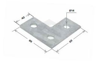 Flat Plate Fitting, 3 Hole Right Angle 90x90mm Galv