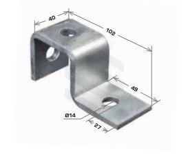 U Shape Bracket, 3 Hole 48x102mm Galv