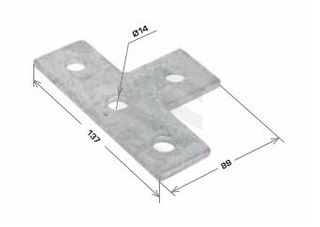 Flat Plate Fitting, 4 Hole Tee Fitting 90x138mm Galv