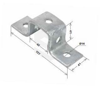 U Shape Bracket, 5 Hole 42x41x137mm Galv