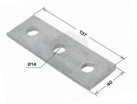Flat Plate Fitting, 3 Hole 40x138mm Galv
