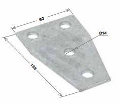 Wide Flat Angle Bracket 4 Hole, 90x138mm HDG
