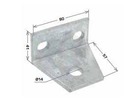 Wide Tee Angle Bracket 3 Hole, 90x57mm HDG