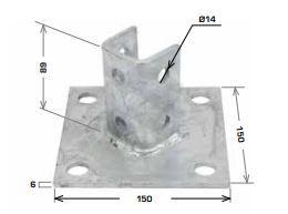 Strut Base Plate Angle 150x150x89mm HDG
