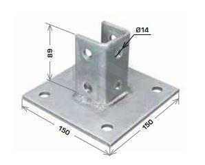 Strut Base Plate Square 150x150x89mm HDG