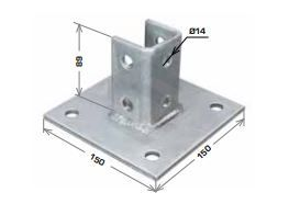 Strut Base Plate Square 150x150x89mm Stainless