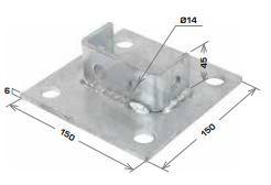 Strut Base Plate for B2B Strut 150x150x40mm HDG
