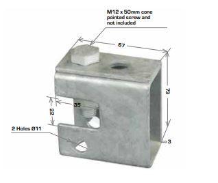 Swivel Beam Clamp 67x73mm w M12x50 Cone Point Screw & Nut