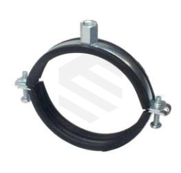 26 - 28mm Rubber Lined Double Bolt Pipe Clamp M10 Boss ZP