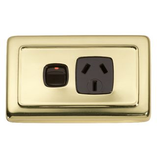 FLAT PLATE SOCKET POLISHED BRASS-BROWN