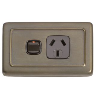 FLAT PLATE SOCKET ANTIQUE BRASS-BROWN