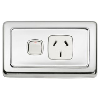 FLAT PLATE SOCKET CHROME PLATE-WHITE