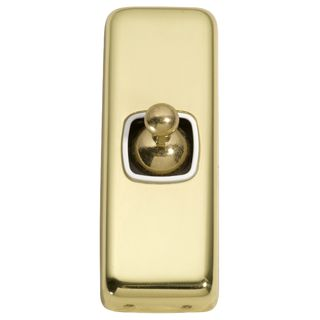 FLAT PLATE TOGGLE RANGE POLISHED BRASS-WHITE