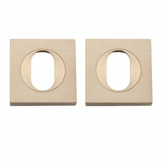 OVAL CYLINDER ESCUTCHEONS SATIN BRASS