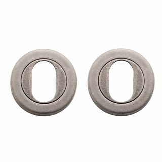 OVAL CYLINDER ESCUTCHEONS RUMBLED NICKEL