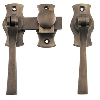 FRENCH DOOR FASTENERS ANTIQUE BRASS