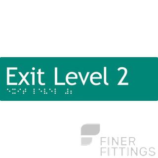 EXIT LEVEL 2 SIGN BRAILLE GREEN
