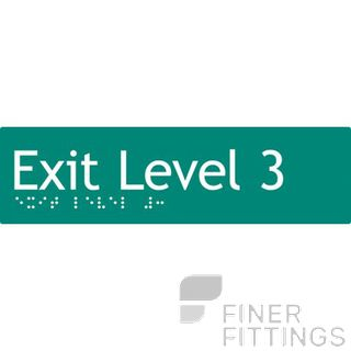 EXIT LEVEL 3 SIGN BRAILLE GREEN