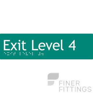 EXIT LEVEL 4 SIGN BRAILLE GREEN