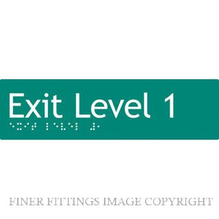 EXIT LEVEL 1 SIGN BRAILLE GREEN