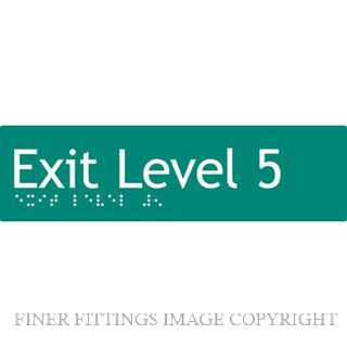 EXIT LEVEL 5 SIGN BRAILLE GREEN