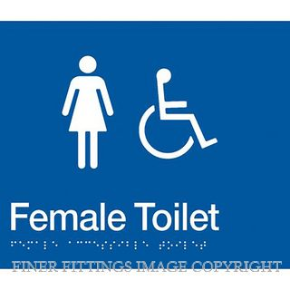 FEMALE ACCESSIBLE TOILET SIGN WITH BRAILLE BLUE