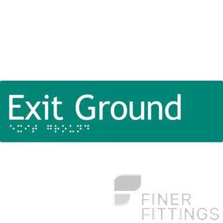 EXIT GROUND SIGN BRAILLE GREEN
