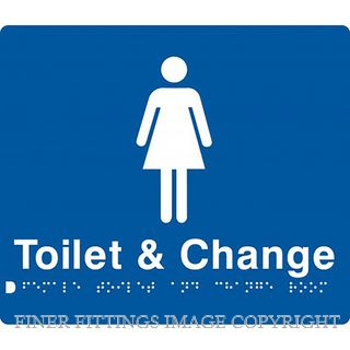 FEMALE TOILET & CHANGE ROOM SIGN WITH BRAILLE BLUE