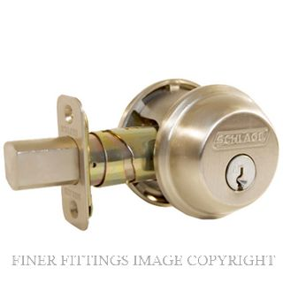 SCHLAGE B60N DEADBOLT CYLINDER & TURN SATIN NICKEL