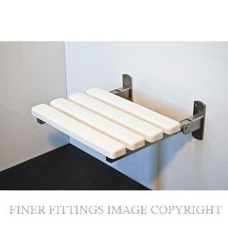 SUPERQUIP SLATTED FOLDING SHOWER SEATS WHITE