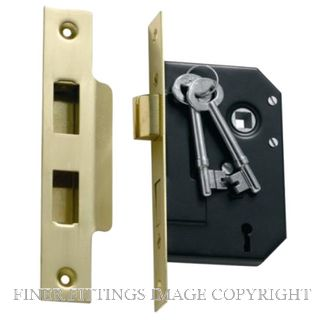 TRADCO 1130 - 1131 MORTICE LOCKS 3 LEVER POLISHED BRASS