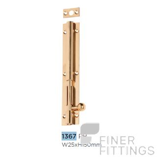 TRADCO 1367 BARREL BOLT LONG THROW 30MM 150X25MM POLISHED BRASS
