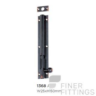 TRADCO 1368 BARREL BOLT LONG THROW 30MM 150X25MM ANTIQUE COPPER