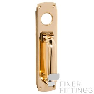 TRADCO 1297 DECO PULL/KNOCKER CYLINDER HOLE POLISHED BRASS