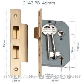 TRADCO 2142-2143 5 LEVER MORTICE LOCKS POLISHED BRASS