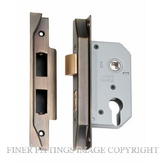 TRADCO 2156 - 2157 REBATED EURO LOCKS ANTIQUE BRASS
