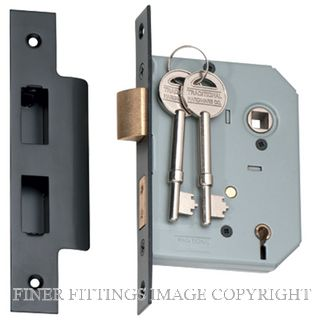 TRADCO 2182-2183 5 LEVER MORTICE LOCKS MATT BLACK