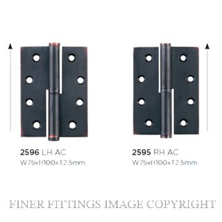 TRADCO 2595 - 2596 LIFT OFF HINGES ANTIQUE COPPER