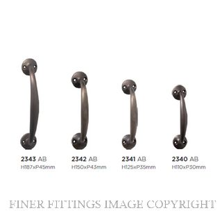 TRADCO 2340 - 2343 PULL HANDLE ON ROSE ANTIQUE BRASS