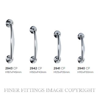TRADCO 2940 - 2943 PULL HANDLE ON ROSE CHROME PLATE
