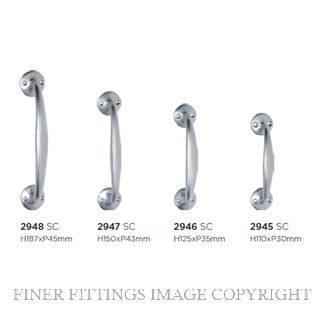 TRADCO 2945 - 2948 PULL HANDLE ON ROSE SATIN CHROME