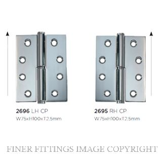 TRADCO 2695 - 2696 LIFT OFF HINGES CHROME PLATE