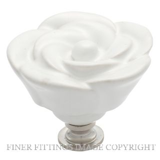 TRADCO 3009 FLOWER KNOB CERAMIC 50MM WHITE-CP
