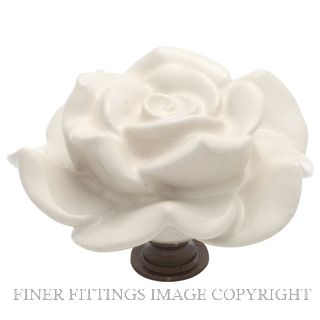TRADCO 3010 FLOWER KNOB CERAMIC 60MM IVORY PORCELAIN-ANT BRASS