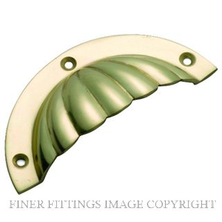 TRADCO 3556 DRAWER PULL FLUTED 90 X 40MM POLISHED BRASS