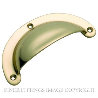 TRADCO 3558 DRAWER PULL PLAIN 100 X 40MM POLISHED BRASS