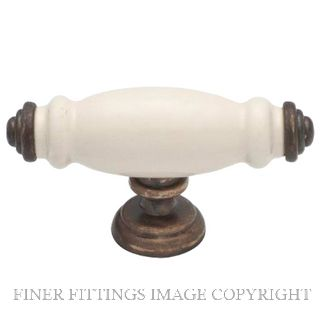 TRADCO 3482 - 3483 PORCELAIN CABINET KNOBS ANTIQUE BRASS