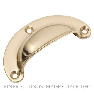 TRADCO 4110 DRAWER PULL PLAIN 70 X 35MM POLISHED BRASS