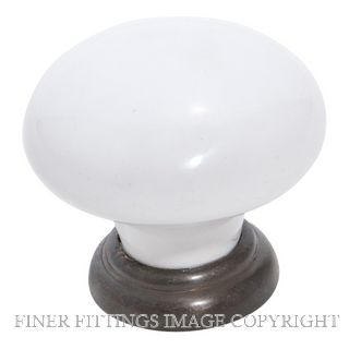 TRADCO 4144 - 4145 WHITE PROCELAIN CABINET KNOBS ANTIQUE BRASS